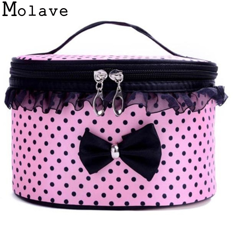 Women New Sweet Bowknot Travel Saddle Cosmetic Bag Storage Bag Toiletry Cosmetic Cases Make Up Bag Portable HandbagMay4