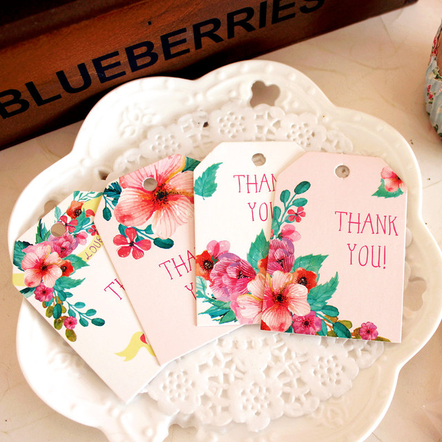 thank you paper labels 100pcs cute flower pink design packaging decoration tags birthday party new year