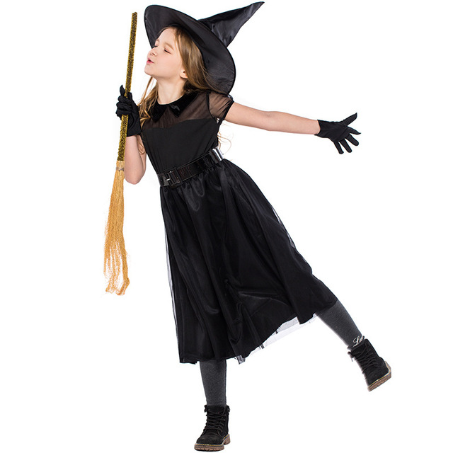 Solid Black Mesh Patchwork Dress Girls Short Sleeve O Neck Halloween Role Play Witch Cosplay Costume Caster Children's Dress