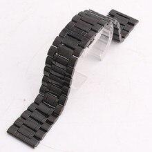 Nuevos Mens de la alta calidad venda de reloj 24 mm 26 mm acero inoxidable de Metal negro bandas venda de reloj de la correa pulseras doble empuje de cierre de la hebilla