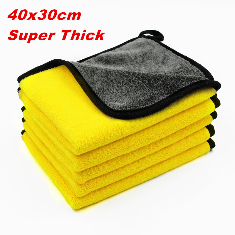 5 Pcs 600gsm Car Wash Microfiber Towels Super Thick Plush Cloth For Washing Cleaning Drying Absorb Wax Polishing(China)