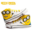 WENDYWU spring Children Canvas Shoes autumn fashion Minions Kids Baby school Boys Girls sneakers Kitty high top cartoon shoes