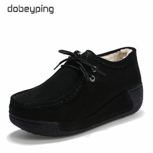 Image 2 - 2018 חדש אביב קיץ פרה זמש עור נעלי אישה שרוכים שטוח פלטפורמת נשים נעלי נשים של נעלי מוקסינים נקבה סניקרס