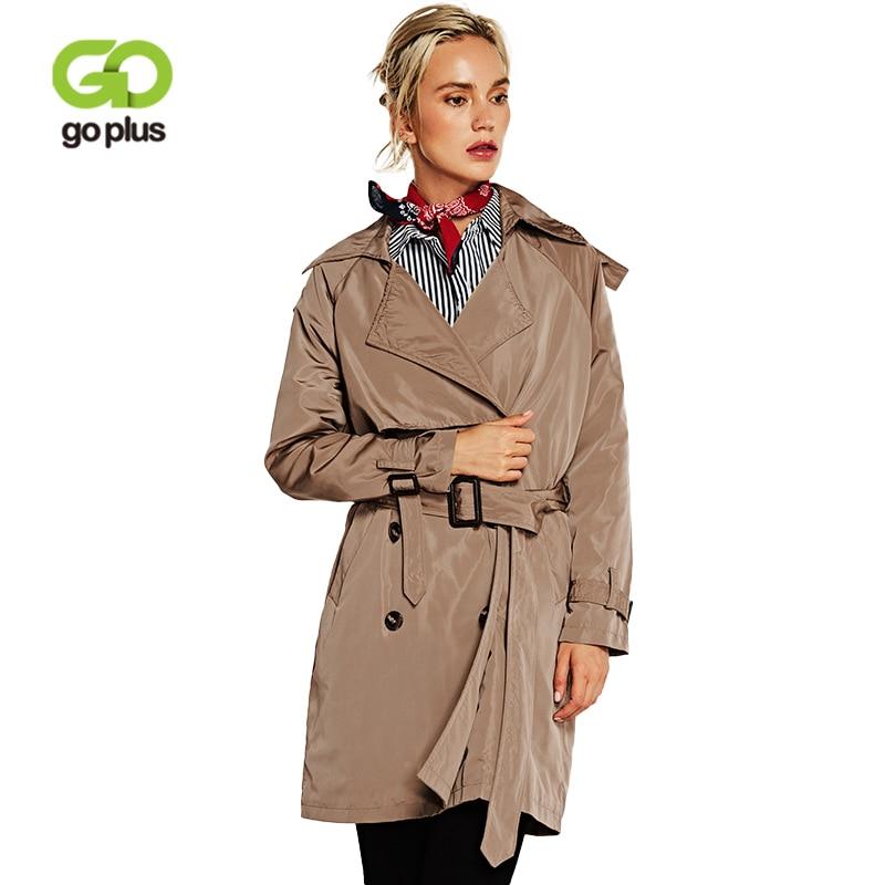 GOPLUS 2019 Spring Fashion Trench Coat women khaki Double breasted Sash long Coat Classic Casual Overcoat Female windbreaker