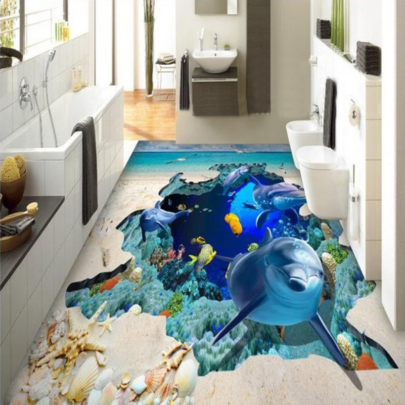 Custom Photo Floor Wallpaper Ocean Dolphin Starfish