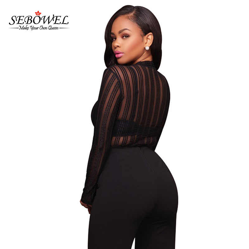 622c79ee4f ... SEBOWEL Sexy Black Striped Mesh Transparent Bodysuits Women Long Sleeves  High Neck Skinny Body Jumpsuit Club ...