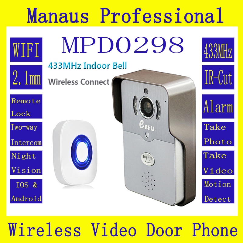 HD WIFI Video Intercom Doorbell Full Duplex Voice 720P PIR Outdoor IP Camera 433MHz Indoor Bell Wireless Video Door Phone D298A wireless service call bell system popular in restaurant ce passed 433 92mhz full equipment watch pager 1 watch 7 call button