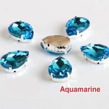 TearDrop Abendkleid Dekorationen Aquamarin Annähen Kristalle Rhinestone10x14mm 13x18mm 18x25mm 20x30mm Annähen Klaue Strass