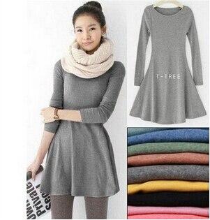 Hot Sale Spring Women Dress Fashion Pure Color 100% Cotton Casual ...