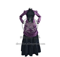 Victorian Lolita French Bustle Formal Gothic Lolita Dress British Style With Stand Collar And Lace On Chest Cool For Halloween