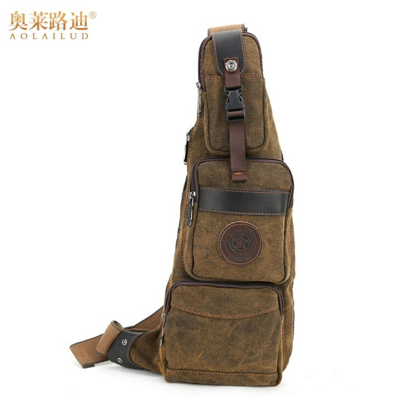 Nya 2018 Män Canvas Travel Riding Skulder Cross Body Messenger Sling Back Pack Bröst Casual Bag