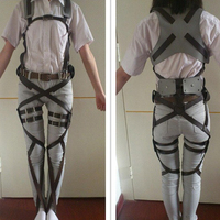 Hot Anime Cos Cosplay Attack On Titan Shingeki No Kyojin Recon Corps Harness Belt Hooks Costume