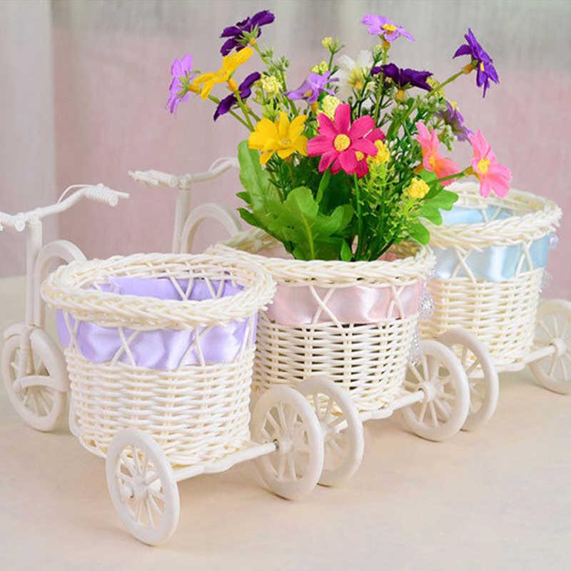 1PC จักรยานดอกไม้ตะกร้าอุปกรณ์หวายจักรยานตะกร้าเก็บลอยแจกันขาตั้งผู้ถือ Tricycle