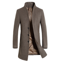 2018 High Quality Mens Long Wool Trench Coat Korean Men Slim fit Trench Parkas for Autumn Pure color fashion trench coat