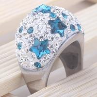 Korea Style Girl S Titanium Steel Engagement Crystal Blue Star Ring