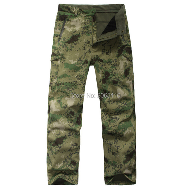 d6dd2cecdfc66 TAD Shark Skin Waterproof Windproof Hiking Pants Outdoor Climbing CS  Camouflage Men Fleece Trousers Military Hunting Pant