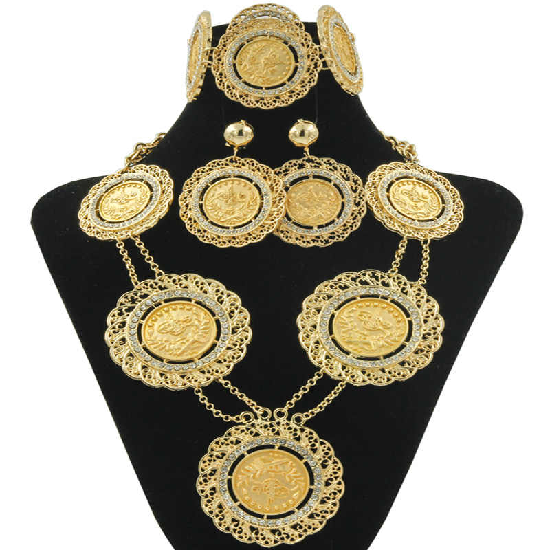 AAAA Fashion Ladies Charms Crystal Long Jewelry Set gold Coins Dubai Wedding Dress Gold Necklace Earrings Suit