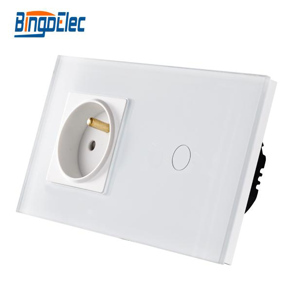 Bingo EU standard Touch switch ,crystal glass panel,110-250V 16A wall french socket with light switch,Hot Sale free shipping smart home us au standard wall light touch switch ac220v ac110v 1gang 1way white crystal glass panel