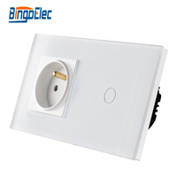 Bingo EU Standard Touch Switch Crystal Glass Panel 110 250V 16A Wall French Socket With Light