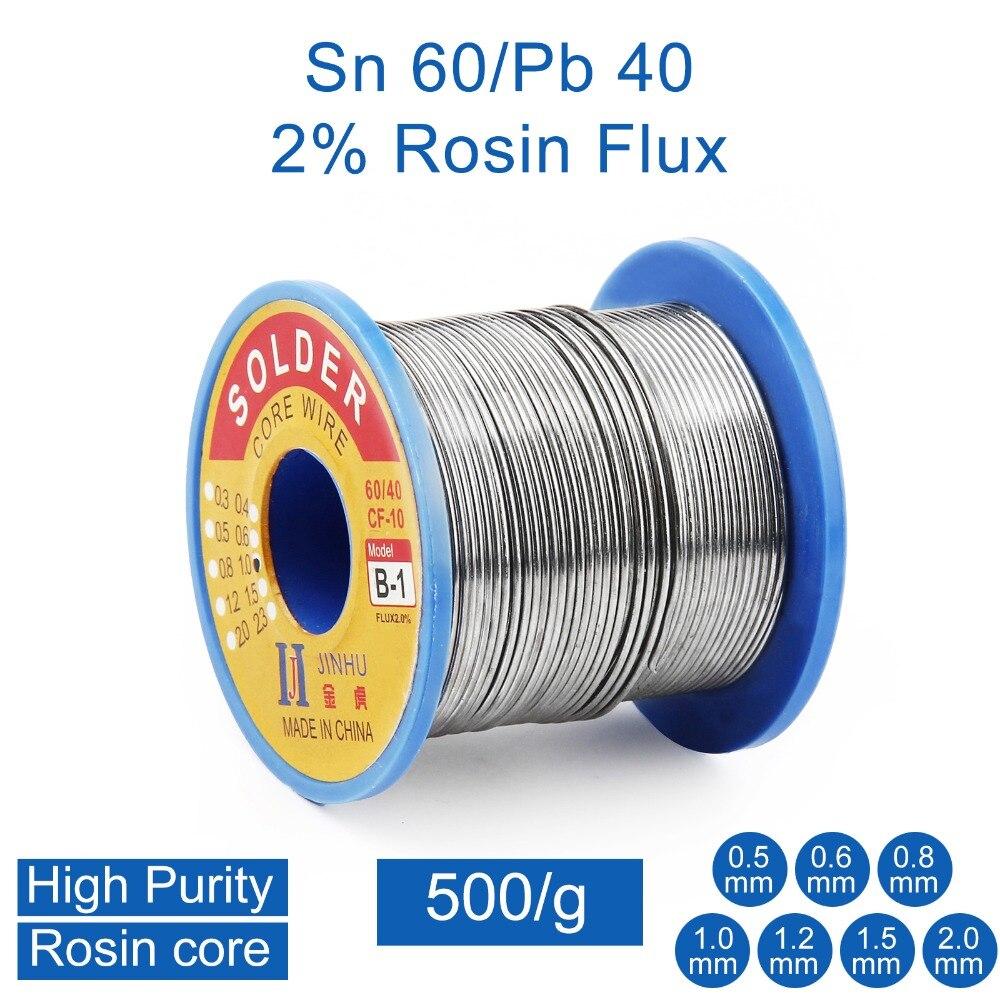 500g 0.5 milímetros 0.6 milímetros 0.8 milímetros 1.0 milímetros 2.0 milímetros 60/40 Tin Chumbo Rosin Solda do Fio do Núcleo para reparos elétricos, reparação IC