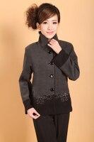 Chinese Women's Woolen Jacket Winter Coat Gray Size: M to 3XL