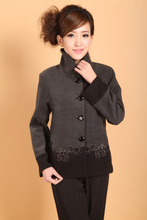 Chinese Womens Woolen Jacket Winter Coat Gray  Size: M to 3XL