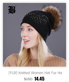 [FLB] Wholesale Real Mink Fur Pom Poms Knitted Hat Ball Beanies Winter Hat For Women Girl 'S Wool Hat Cotton Skullies Female Cap 45