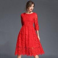 New Sexy Red Phụ Nữ Mùa Thu Đầm Ren Nữ Cao Eo Hollow Out Vestidos de Festa Xanh Dresses Feminino Cộng Với Kích Thước Áo N611B