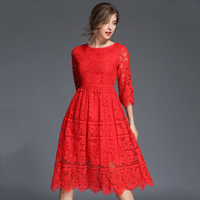 New Sexy Red Mulheres Outono Vestido de Renda Senhoras de Cintura Alta Oco fora Vestidos de Festa Azul Vestidos Feminino Plus Size Robe N611B