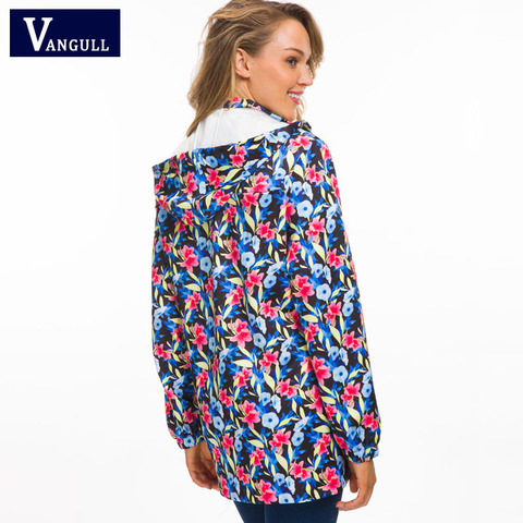Vangull Women Hooded Jackets 2018 New Autumn Causal windbreaker Long Basic Jackets Coats Zipper Female Print Floral Jackets Multan