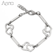 A&N Gold & Silver Stainless Steel Bracelets Double Hearts Decorate Straight Steel Strip Simple Design Fashion Bracelet For Women