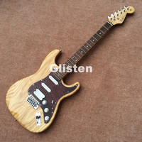 Ash wood nature wood electric guitar, rosewood fretboard, maple neck and basswood body