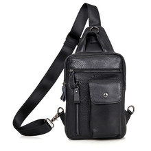 Mens Black Chest Bags Cow Leather  Man Travel Brand Vintage Ipad Phone Book Daily Designer Cute Handbag Bag Male