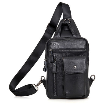 Mens Black Chest Bags Cow Leather  Man Travel Brand Vintage Ipad Phone Book Daily Designer Cute Handbag Bag Male  Leather Bags