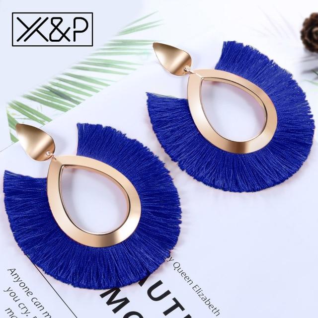 X&P Bohemian Big Tassel Drop Earrings For Women Lady Female Fringe Handmade Brincos Statement Fashion Woman Earring 2018 Jewelry 1