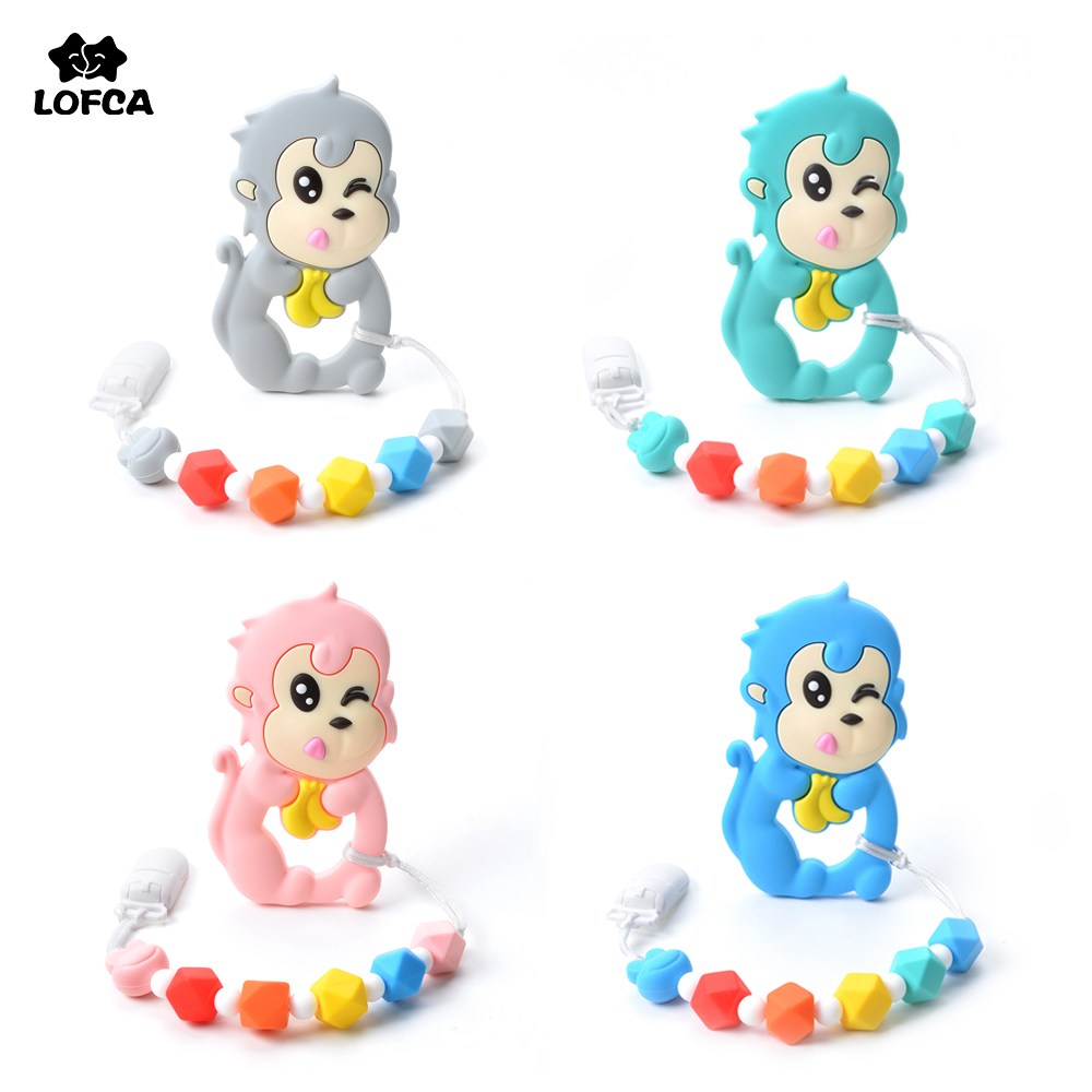 Monkey Teething Pacifiers Clip Silicone Baby Teether Toys For Baby Teething Accessory Silicone Monkey Teething Toy BPA Free happy monkey mini finger monkey interactive baby pet intelligent toy tip monkey smart electronic pet finger monkey toys