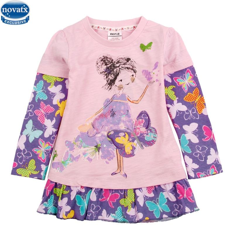 novatx F4256 new designs Girls long sleeve t shirts printed flower children clothest shirts kids clothes fashion girls t shirts