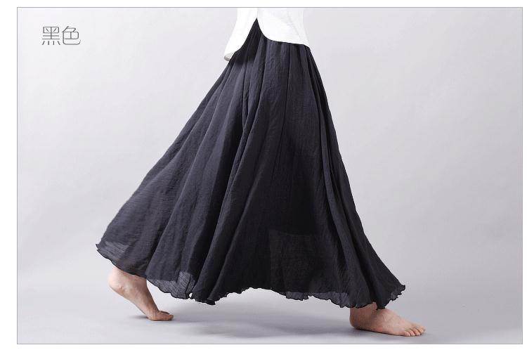 Sherhure 19 Women Linen Cotton Long Skirts Elastic Waist Pleated Maxi Skirts Beach Boho Vintage Summer Skirts Faldas Saia 39