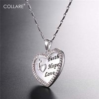 Collare Heart Cross Pendant Gold Silver Color Faith Hoop Love Jewelry Religious Necklace Women Christmas Gift