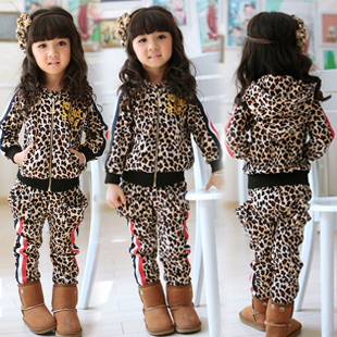 New 2014 winter clothing set child frozen leopard print for Leopard print shirts for toddlers