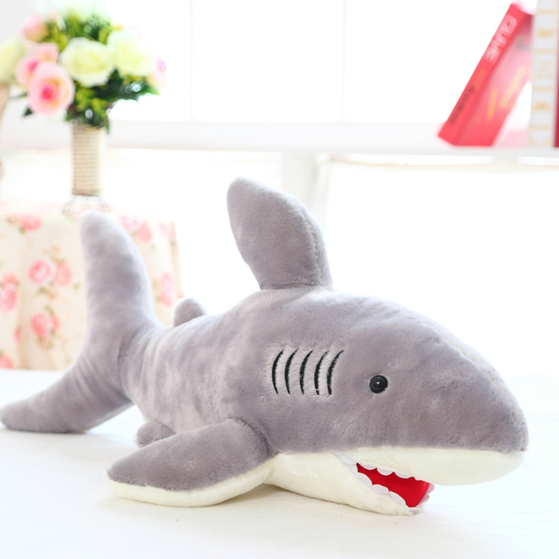 The shark fish cartoon plush toy doll boutique booth birthday gift to send to friends 70cm robo fish shark style electronic fish toy blue white 2 x lr44