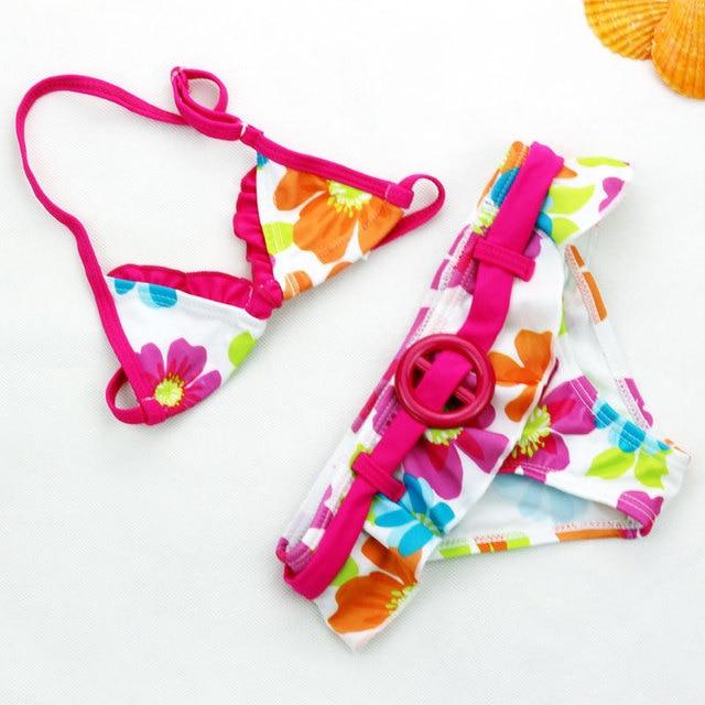 2019 New Summer girls cute flowers pattern swimsuit  girls split Two-pieces Swimwear, children flowers pattern bikini wholesale