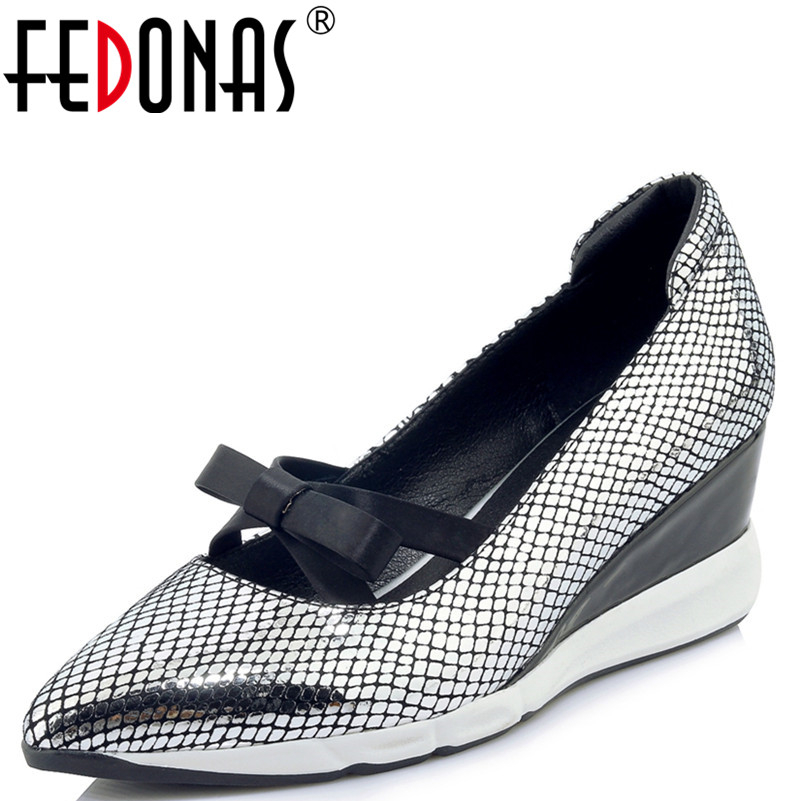 FEDONAS New Sexy High Heels Genuine Leather Shoes Woman Pumps Wedding Bridal Shoes Classic Bowknot Pointed Toe Party Shoes fedonas high quality women genuine leather shoes woman high heels sexy pointed toe silver gold wedding party shoes female pumps