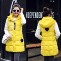 Winter Hooded Vest Women 2016 New Fashion Waistcoat Plus Size Pockets Zipper Slim Long Style Candy Colors Vests XXXL F16-68D