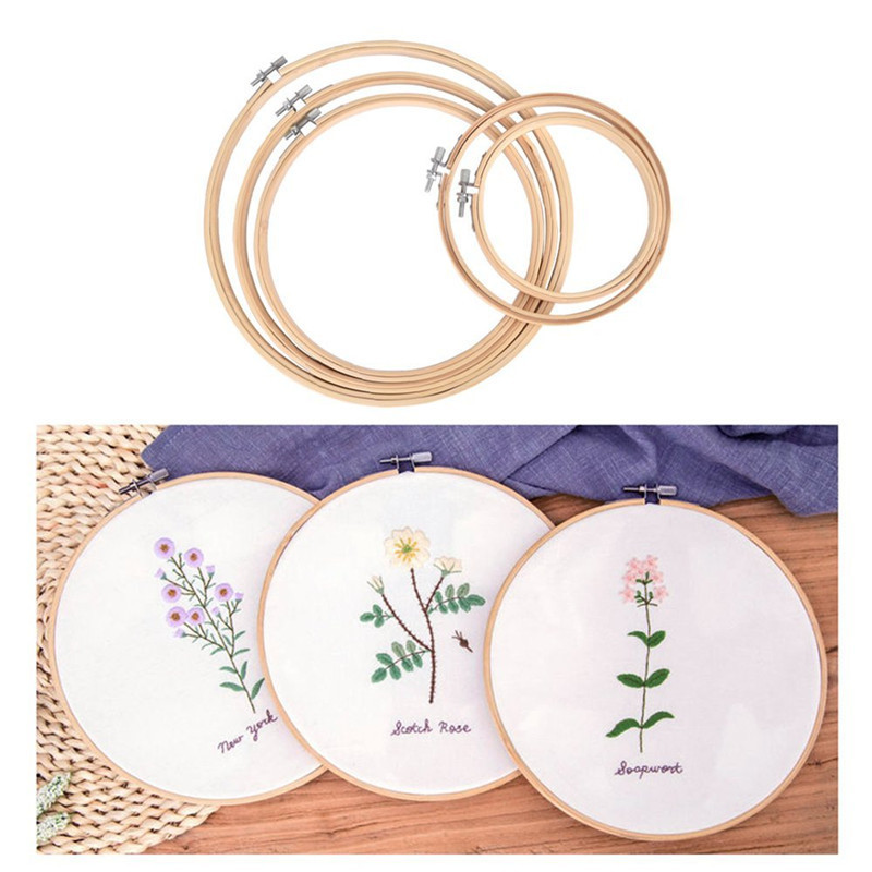 Cross Stitch Embroidery Hoops 5pcs Round Adjustable Bamboo Hoops With Embroidery Thread Sewing Accessories Women Embroidery Kit in Sewing Tools Accessory from Home Garden