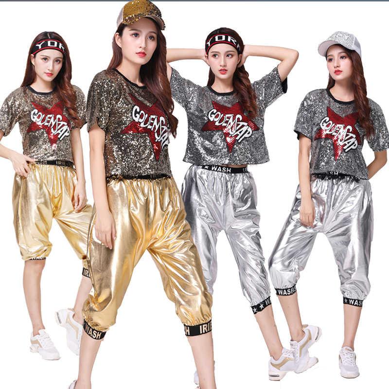 Новый женский джазовый танцевальный костюм для танцев хип-хоп Корейская версия DS блесток представление одежды из двух частей