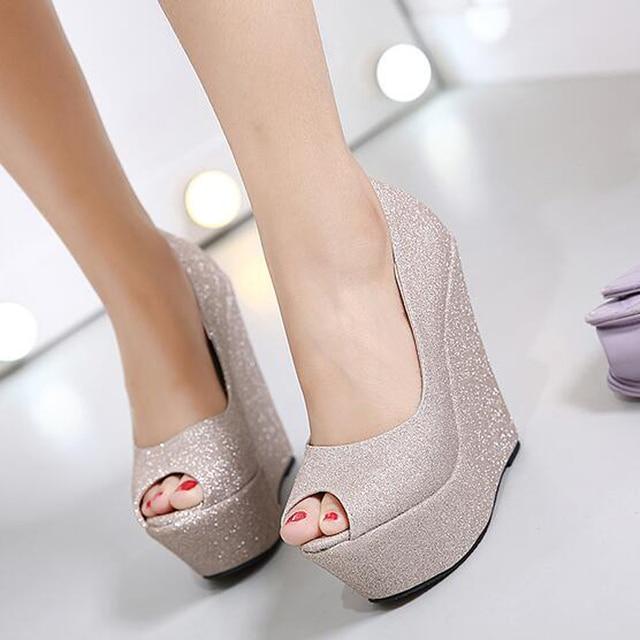 Glitter Shoes Platform Shoes High Heels Gold Silver Wedding Shoes Peep Toe  High Heels Pumps Platform