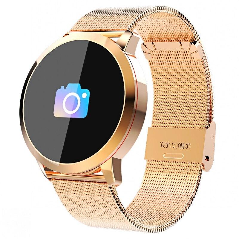 Newwear Q8 OLED Bluetooth inteligente reloj de acero inoxidable resistente al agua Dispositivo de vestir reloj inteligente reloj de pulsera de las mujeres de los hombres Fitness Tracker