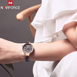 Image 3 - NAVIFORCE Frauen Uhren Top Luxus Marke Damen Quarz Uhren Echtem Leder Armband Beiläufige Handgelenk Uhren Geschenk Für Mädchen