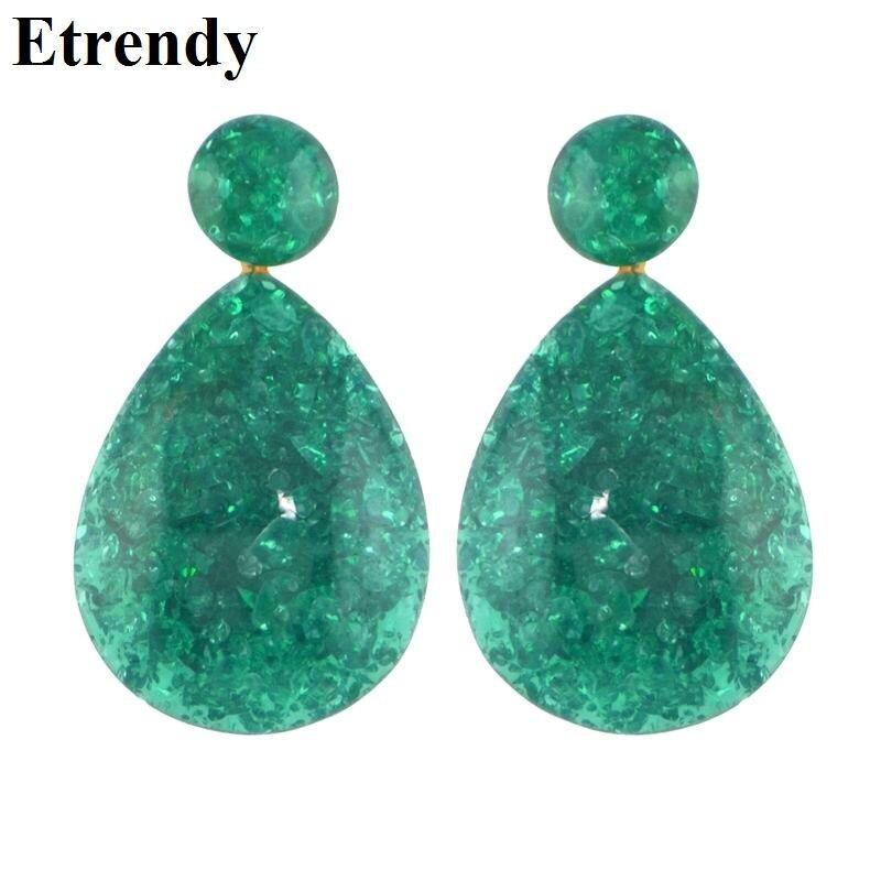 New Bohemian Green Resin Drop Earrings Fashion Jewelry Vintage Statement Women Dangle Earrings Wholesale Party Yellow